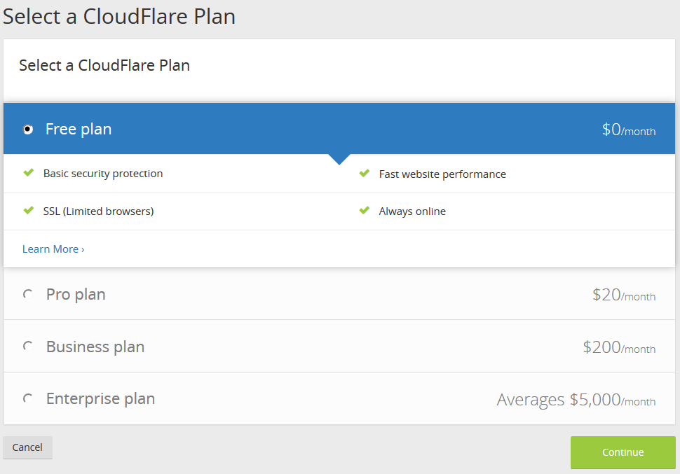cloudflare ücretsiz ssl plan türü